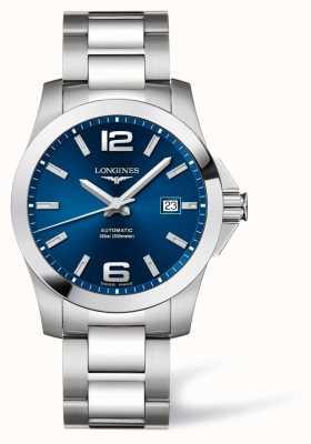 Longines Hommes | conquête sportive | cadran bleu | acier inoxydable L37774996