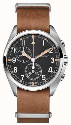 Hamilton L'aviation kaki | pilote pionnier | chronographe | cuir marron H76522531