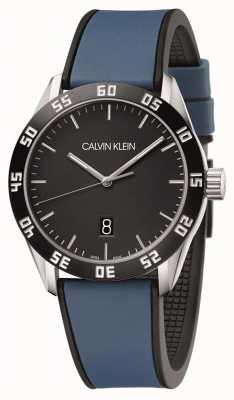 Calvin Klein | hommes en compétition | bracelet en caoutchouc bleu | cadran noir | K9R31CV1