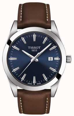 Tissot Gentleman | bracelet en cuir marron | cadran bleu | T1274101604100
