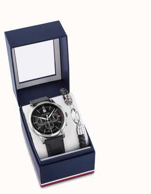 Tommy Hilfiger Ensemble cadeau homme montre et bracelet en cuir noir 2770058