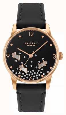 Radley Paillettes chien Ditsy | bracelet en cuir bleu marine | cadran noir | RY2890