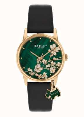 Radley Floral botanique | bracelet en cuir bleu marine | cadran floral vert | RY2882