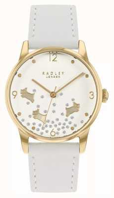 Radley Paillettes chien Ditsy | bracelet en cuir blanc | cadran blanc scintillant RY2892