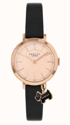 Radley Rue Selby | bracelet en cuir noir | cadran en or rose | RY2928