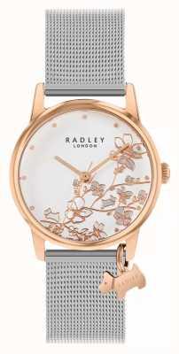 Radley Floral botanique | bracelet en maille d'argent | cadran floral blanc RY4399