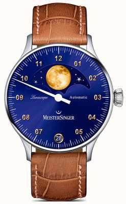 MeisterSinger Lunascope | cadran bleu | bracelet en cuir marron LS908G