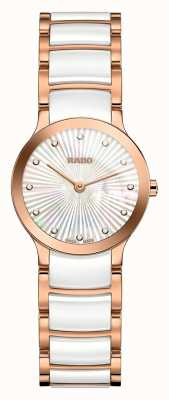 Rado Centrix diamants en céramique blanche et or rose R30186912