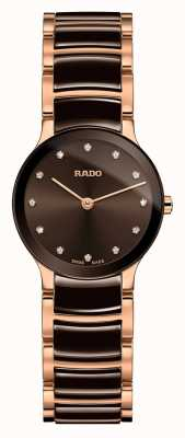 Rado Centrix diamants en céramique blanche et or rose R30190702