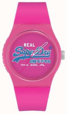 Superdry Original urbain | bracelet en silicone rose | cadran imprimé rose | SYL280PU