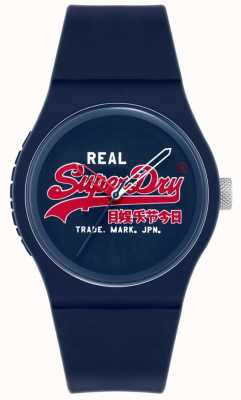 Superdry Original urbain | bracelet en silicone bleu | cadran bleu | SYG280UR