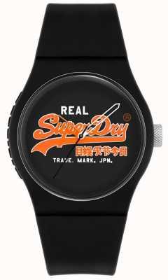 Superdry Original urbain | bracelet en silicone noir | cadran noir | SYG280BO