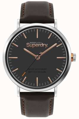 Superdry Oxford | bracelet en cuir marron | cadran marron | SYG287BR