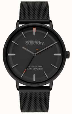Superdry Ascot xl | bracelet en maille noire | cadran noir | SYG284BM