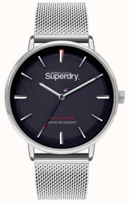 Superdry Ascot xl | bracelet en maille d'argent | cadran bleu | SYG284SM
