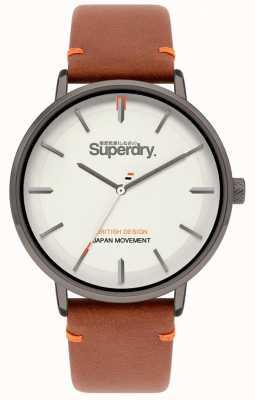 Superdry Ascot xl | bracelet en cuir beige | cadran gris | SYG283T