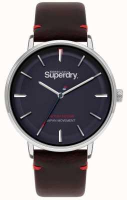 Superdry Ascot xl | bracelet en cuir marron | cadran bleu | SYG283BR