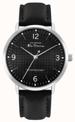 Ben Sherman Bracelet en cuir noir pour hommes | cadran noir à motifs | BS025B