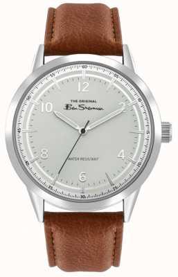 Ben Sherman Bracelet en cuir marron pour hommes | cadran argenté sunray | BS023T