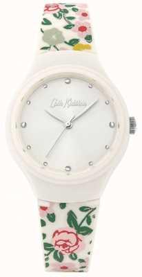 Cath Kidston Bracelet en silicone fleuri crème pour femme | cadran blanc | CKL086W