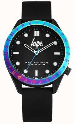 Hype Bracelet en silicone noir pour hommes | cadran noir | lunette multicolore HYG014B