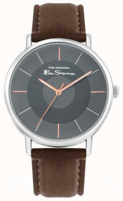 Ben Sherman Bracelet en cuir marron pour hommes | cadran gris | BS026BR