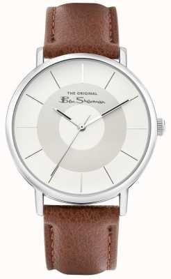 Ben Sherman Bracelet en cuir marron pour hommes | cadran argent / gris | BS026T
