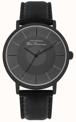 Ben Sherman Bracelet en cuir noir pour hommes | cadran noir | BS026B