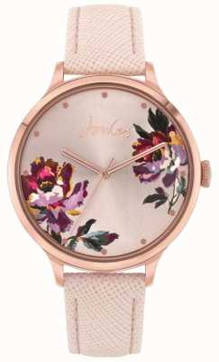 Joules | tillbury femmes | bracelet en cuir nude | cadran floral | JSL021PRG