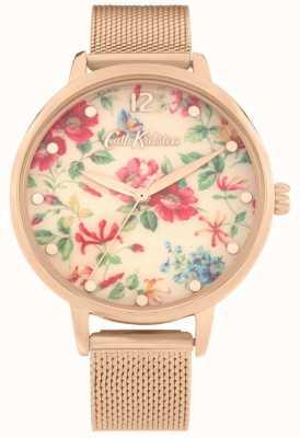 Cath Kidston Pembroke Rose | bracelet en maille d'or rose | cadran floral | CKL085RGM