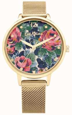 Cath Kidston Pembroke Rose | bracelet en maille d'or | cadran floral | CKL085GM