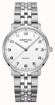 Certina | ds caimano | bracelet en argent en acier inoxydable | cadran blanc C0354101101200