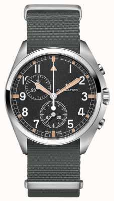 Hamilton Pilote de l'aviation kaki pionnier | bracelet nato gris | cadran noir H76522931