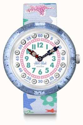 Flik Flak   stafetti   bracelet en tissu imprimé étoiles grises   cadran bleu/blanc FBNP136