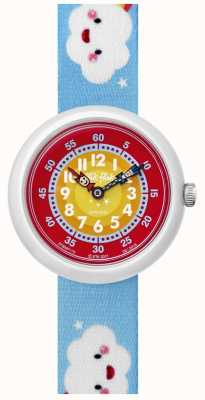 Flik Flak | nuage | bracelet en tissu imprimé bleu | cadran rouge/jaune | FBNP115