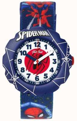Flik Flak | l'homme araignée en action | bracelet en tissu bleu | FLSP012