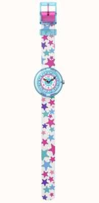 Flik Flak | tÄhtila | bracelet en tissu imprimé étoiles blanches | cadran bleu FBNP081