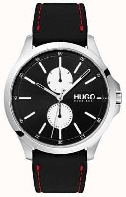 HUGO #jump | bracelet en caoutchouc noir | cadran noir | 1530001