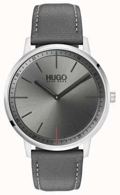 HUGO #exist | bracelet en cuir gris | cadran gris | 1520009