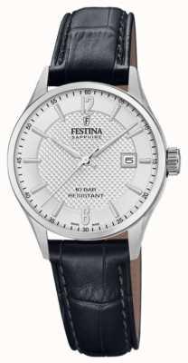 Festina | fabrication suisse pour femmes | bracelet en cuir noir | cadran argenté | F20009/1