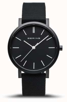 Bering | vraie aurore | bracelet en caoutchouc noir | cadran noir | 16934-499