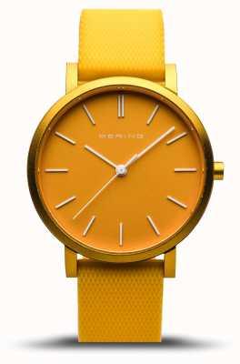 Bering | vraie aurore | bracelet en caoutchouc jaune | cadran jaune | 16934-699