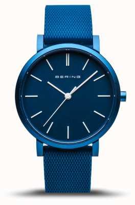 Bering | vraie aurore | bracelet en caoutchouc bleu | cadran bleu | 16934-799