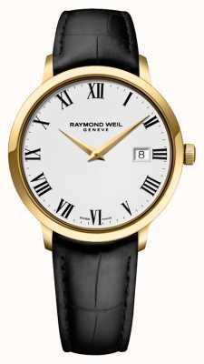 Raymond Weil Mens   toccata   bracelet en cuir noir   cadran blanc 5488-PC-00300