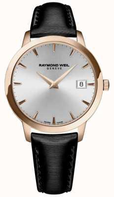 Raymond Weil Femmes   toccata   bracelet en cuir noir   cadran argenté 5388-PC5-65001