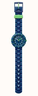 Flik Flak | solo bleu foncé | bracelet plastique bleu | cadran bleu | FCSP086