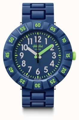 Flik Flak | bleu foncé solo | bracelet plastique bleu | cadran bleu | FCSP086