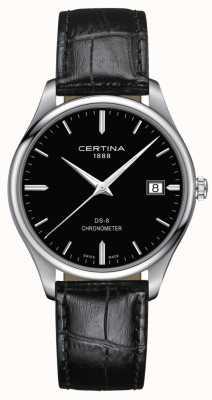 Certina Chronomètre Ds-8 | bracelet en cuir noir | cadran noir | C0334511605100