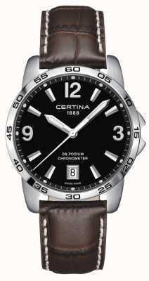Certina Podium Ds 40mm | bracelet en cuir marron | cadran noir | C0344511605700