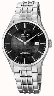 Festina | fabrication suisse pour hommes | bracelet en acier inoxydable | cadran noir F20005/4